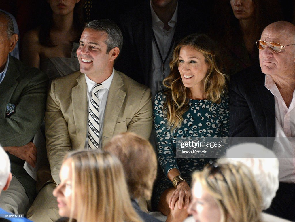 TV Personality Andy Cohen, <a gi-track='captionPersonalityLinkClicked' href=/galleries/search?phrase=Sarah+Jessica+Parker&family=editorial&specificpeople=201693 ng-click='$event.stopPropagation()'>Sarah Jessica Parker</a> and <a gi-track='captionPersonalityLinkClicked' href=/galleries/search?phrase=Barry+Diller&family=editorial&specificpeople=208116 ng-click='$event.stopPropagation()'>Barry Diller</a>, Chairman and Senior Executive of IAC/InterActiveCorp attend the Diane Von Furstenberg show during Spring 2013 Mercedes-Benz Fashion Week at The Theatre at Lincoln Center on September 9, 2012 in New York City.