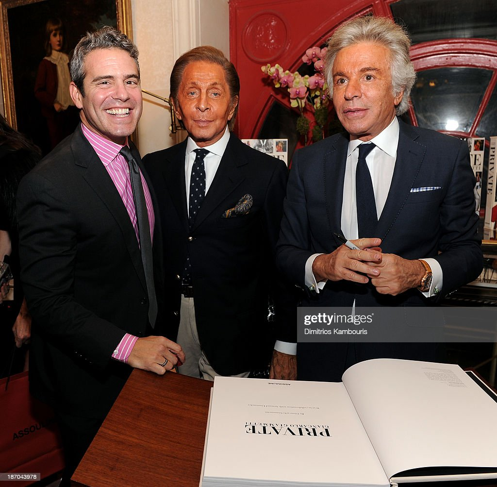 TV Personality Andy Cohen, <a gi-track='captionPersonalityLinkClicked' href=/galleries/search?phrase=Valentino+Garavani+-+Fashion+Designer&family=editorial&specificpeople=4297414 ng-click='$event.stopPropagation()'>Valentino Garavani</a> and Giancarlo Giammetti attend a book signing for Giancarlo Giammetti's Autobiography 'Private Giancarlo Giammetti,' hosted by Martine and Prosper Assouline at Assouline Boutique at The Plaza Hotel on November 5, 2013 in New York City.