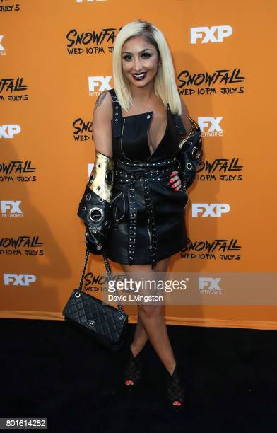 TV personality Angel Brinks attends the premiere of FX's 'Snowfall' at The Theatre at Ace Hotel on June 26 2017 in Los Angeles California