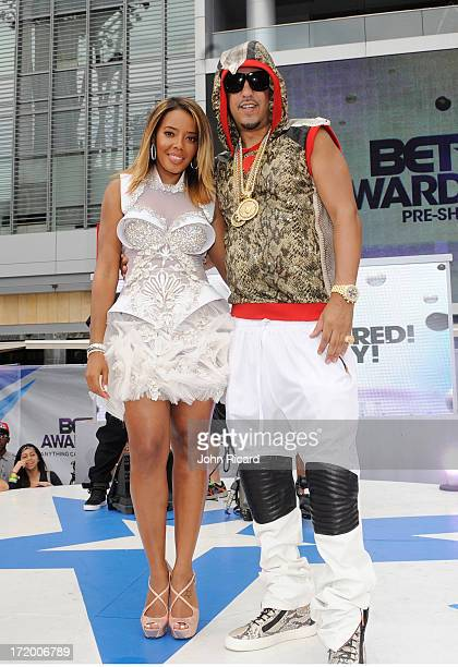 TV personality Angela Simmons and rapper French Montana attend 106 Park Stage PreShow during the BET Awards at Nokia Theatre LA Live on June 30 2013...