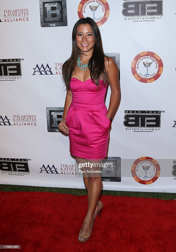 TV Personality Angela Sun attends the 8th annual BTE All-Star Celebrity Kickoff Party at The Playboy Mansion on July 15, 2013 in Beverly Hills, California.