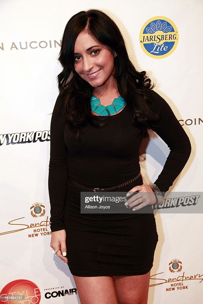 TV personality Angelina Pivarnick attends the Boy Meets Girl by Stacy Igel fall 2013 fashion show during Conair Style360 at Metropolitan Pavilion on February 13, 2013 in New York City.