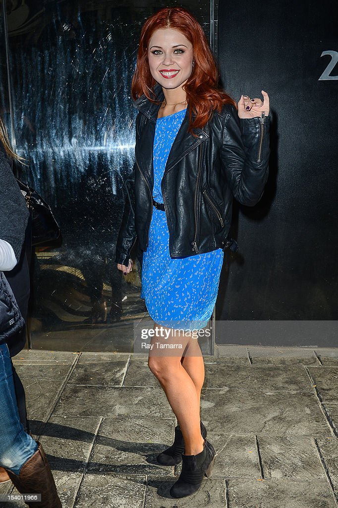 TV personality Anna Trebunskaya leaves the 'Good Day New York' taping at Fox 5 Studios on October 12, 2012 in New York City.
