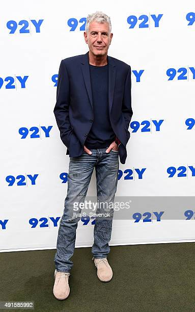 TV personality Anthony Bourdain attends 92nd Street Y Presents Jacques Pepin Anthony Bourdain Home and Away at 92nd Street Y on October 6 2015 in New...