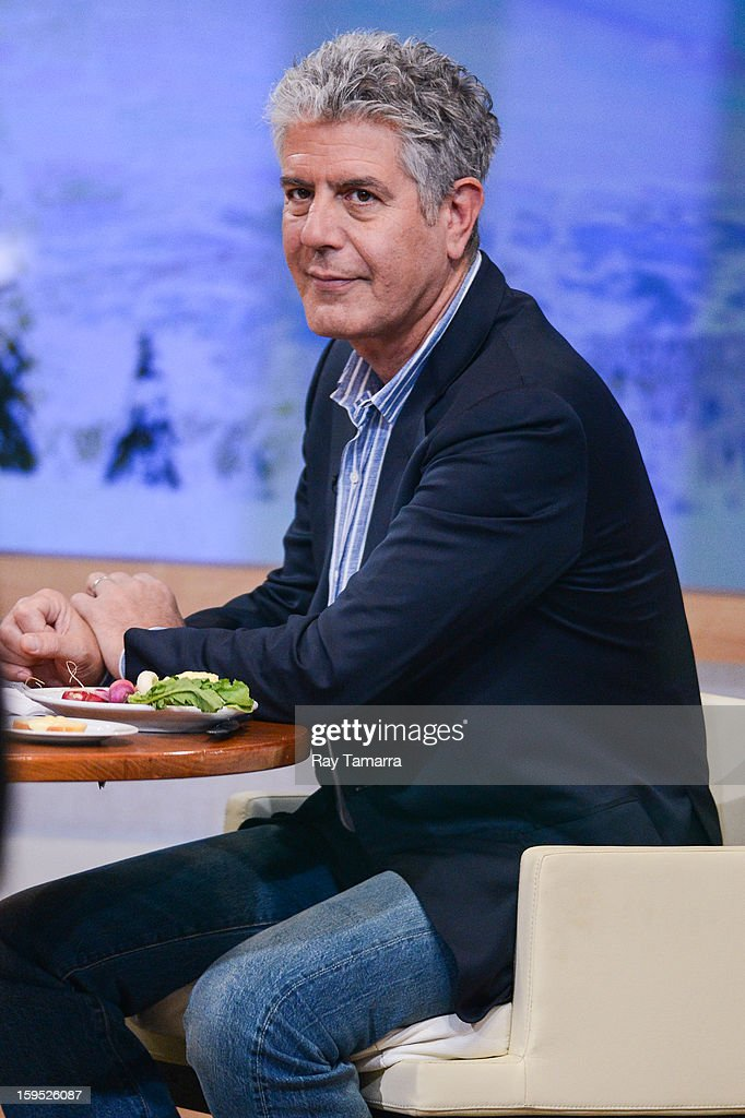 TV personality <a gi-track='captionPersonalityLinkClicked' href=/galleries/search?phrase=Anthony+Bourdain&family=editorial&specificpeople=2310617 ng-click='$event.stopPropagation()'>Anthony Bourdain</a> tapes and interview at 'Good Morning America' at the ABC Times Squrare Studios on January 14, 2013 in New York City.