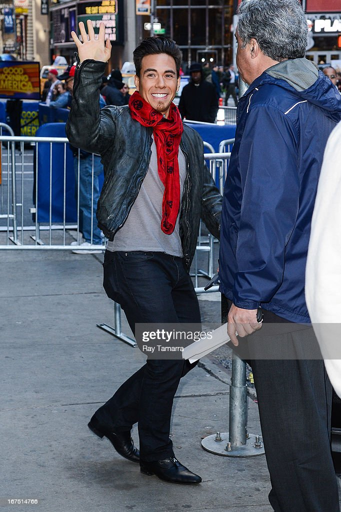TV personality Apolo Ohno leaves the 'Good Morning America' taping at the ABC Times Square Studios on April 25, 2013 in New York City.