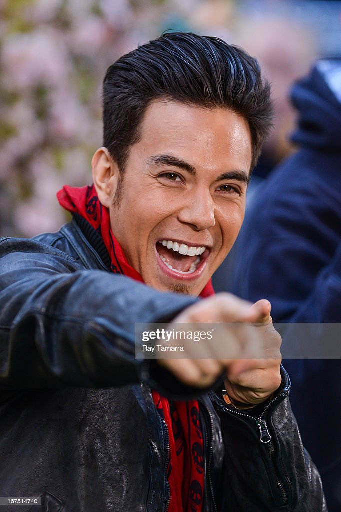 TV personality Apolo Ohno tapes an interview at 'Good Morning America' at the ABC Times Square Studios on April 25, 2013 in New York City.