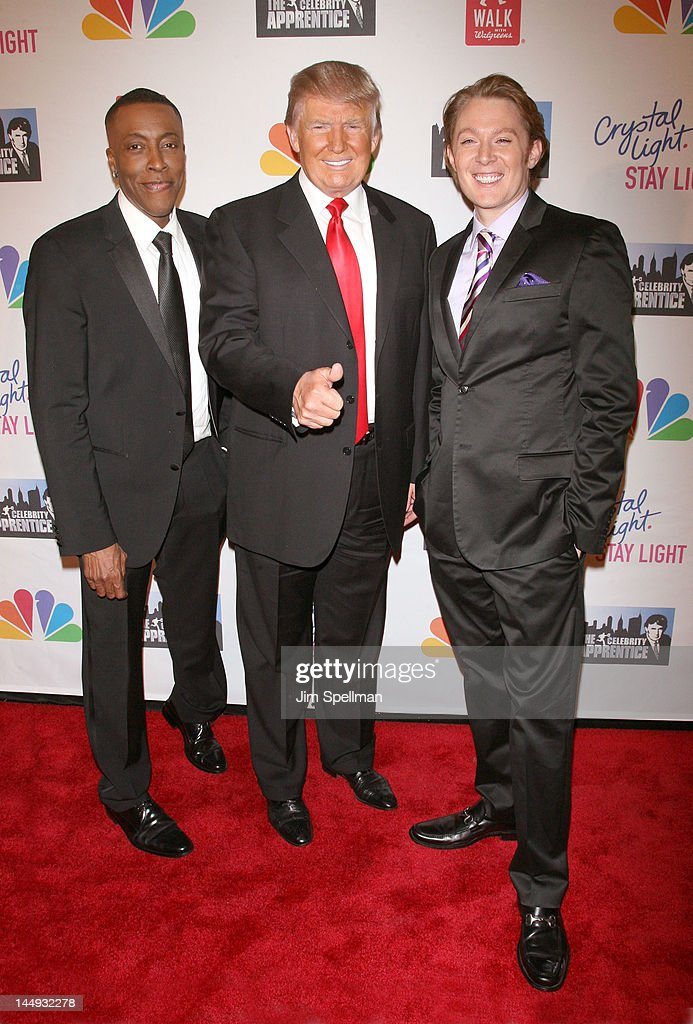 TV Personality <a gi-track='captionPersonalityLinkClicked' href=/galleries/search?phrase=Arsenio+Hall&family=editorial&specificpeople=211441 ng-click='$event.stopPropagation()'>Arsenio Hall</a>, <a gi-track='captionPersonalityLinkClicked' href=/galleries/search?phrase=Donald+Trump+-+Born+1946&family=editorial&specificpeople=118600 ng-click='$event.stopPropagation()'>Donald Trump</a> and singer <a gi-track='captionPersonalityLinkClicked' href=/galleries/search?phrase=Clay+Aiken&family=editorial&specificpeople=204201 ng-click='$event.stopPropagation()'>Clay Aiken</a> attend the 'Celebrity Apprentice' Live Finale at American Museum of Natural History on May 20, 2012 in New York City.