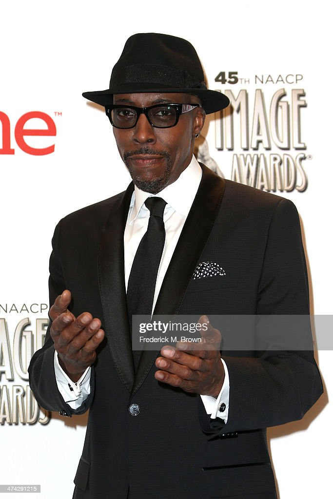 TV personality <a gi-track='captionPersonalityLinkClicked' href=/galleries/search?phrase=Arsenio+Hall&family=editorial&specificpeople=211441 ng-click='$event.stopPropagation()'>Arsenio Hall</a> poses in the press room during the 45th NAACP Image Awards presented by TV One at Pasadena Civic Auditorium on February 22, 2014 in Pasadena, California.