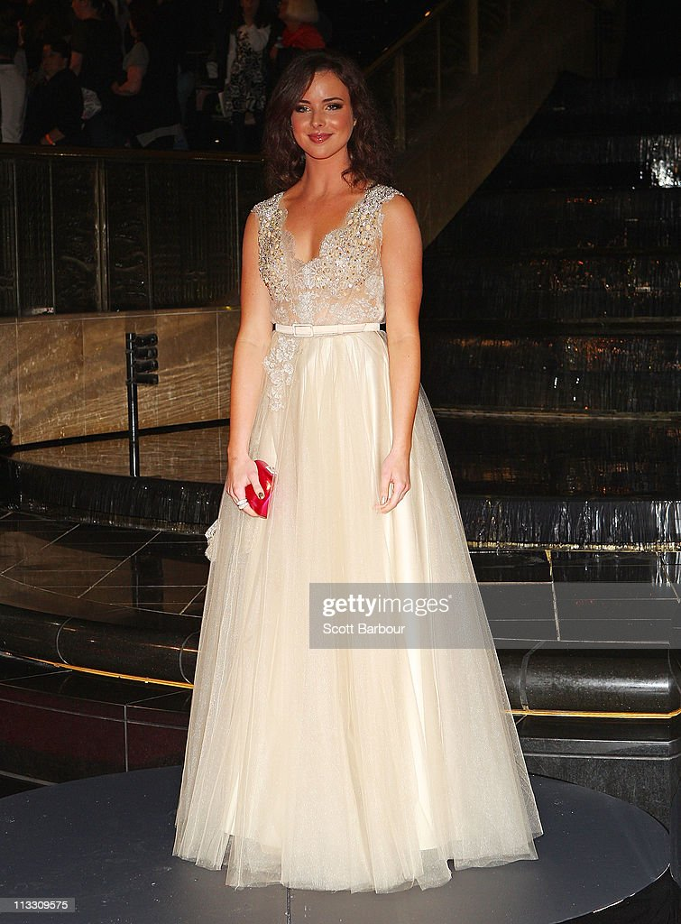 TV personality Ashleigh Brewer arrives on the red carpet ahead of the 2011 Logie Awards at Crown Palladium on May 1, 2011 in Melbourne, Australia.