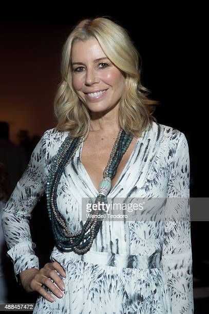 Personality Aviva Drescher attends the Carmen Marc Valvo show at Moynihan station as part of the 'NYFW The Shows' Spring 2016 New York Fashion Week...