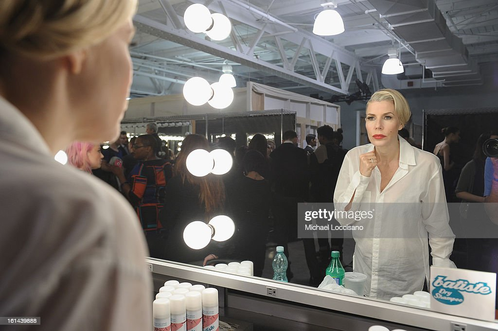 TV Personality Aviva Drescher prepares backstage at the Malan Breton fall 2013 fashion show during Mercedes-Benz Fashion Week at Pier 59 on February 10, 2013 in New York City.