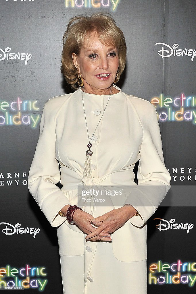 TV Personality <a gi-track='captionPersonalityLinkClicked' href=/galleries/search?phrase=Barbara+Walters&family=editorial&specificpeople=201871 ng-click='$event.stopPropagation()'>Barbara Walters</a> attends Barneys New York And Disney Electric Holiday Window Unveiling Hosted By Sarah Jessica Parker, Bob Iger, And Mark Lee on November 14, 2012 in New York City.