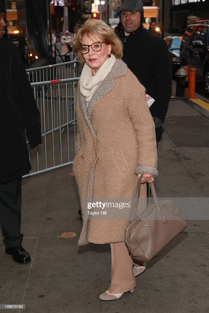 TV personality Barbara Walters visits ABC News' 'Good Morning America' Times Square Studio on January 7 2013 in New York City