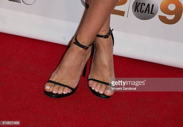 TV personality Barbie Blank shoe detail attends Citi And OK TV Host GRAMMY viewing party at The Grove on February 15 2016 in Los Angeles California