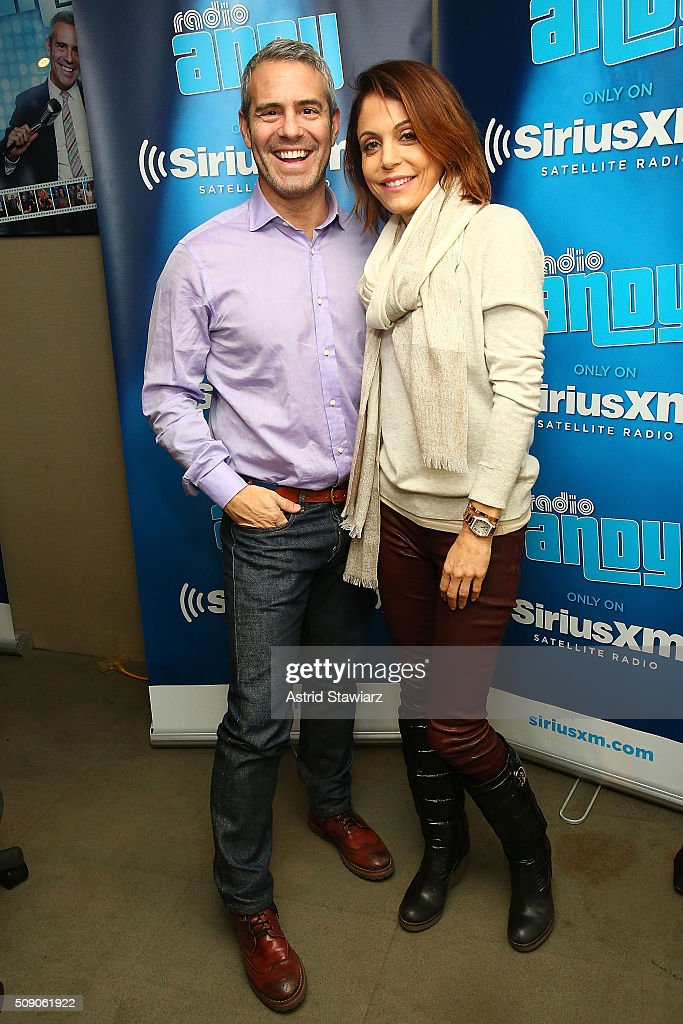 TV personality <a gi-track='captionPersonalityLinkClicked' href=/galleries/search?phrase=Bethenny+Frankel&family=editorial&specificpeople=873539 ng-click='$event.stopPropagation()'>Bethenny Frankel</a> (right) visits <a gi-track='captionPersonalityLinkClicked' href=/galleries/search?phrase=Andy+Cohen+-+Personalidad+de+televisi%C3%B3n&family=editorial&specificpeople=7879180 ng-click='$event.stopPropagation()'>Andy Cohen</a> (left) on <a gi-track='captionPersonalityLinkClicked' href=/galleries/search?phrase=Andy+Cohen+-+Personalidad+de+televisi%C3%B3n&family=editorial&specificpeople=7879180 ng-click='$event.stopPropagation()'>Andy Cohen</a>'s exclusive SiriusXM channel Radio Andy at SiriusXM Studios on February 8, 2016 in New York City.