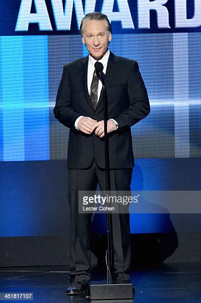 TV personality Bill Maher speaks onstage during the 2013 American Music Awards at Nokia Theatre LA Live on November 24 2013 in Los Angeles California