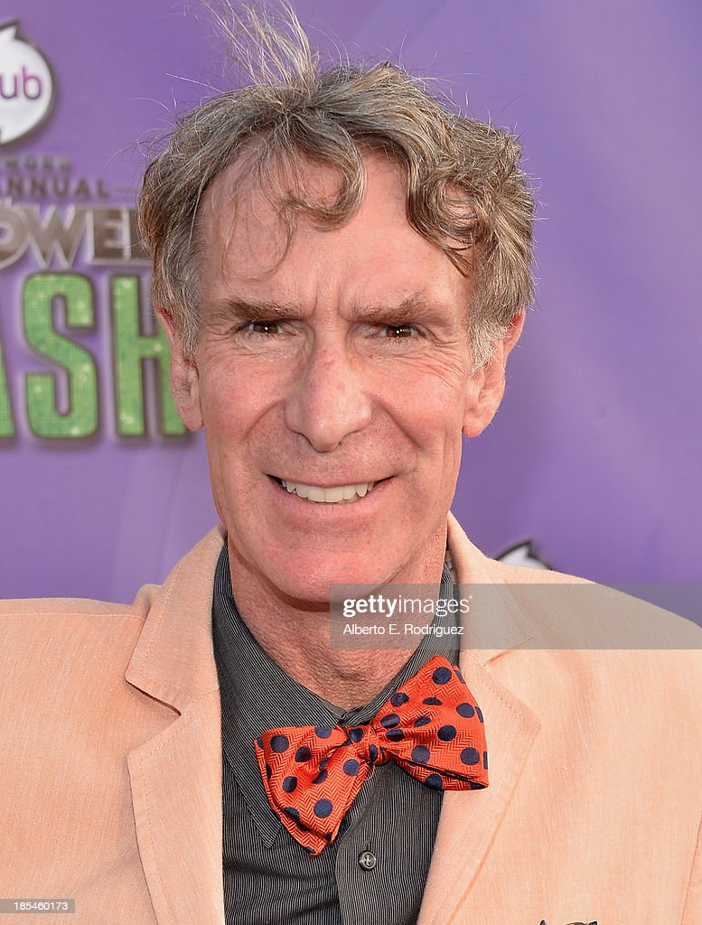 TV personality <a gi-track='captionPersonalityLinkClicked' href=/galleries/search?phrase=Bill+Nye&family=editorial&specificpeople=1016855 ng-click='$event.stopPropagation()'>Bill Nye</a> attends the Hub Network's 1st Annual Halloween Bash at Barker Hangar on October 20, 2013 in Santa Monica, California.