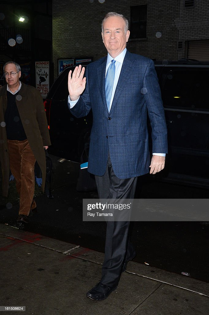 TV personality Bill O'Reilly enters the 'Late Show With David Letterman' taping at the Ed Sullivan Theater on February 11, 2013 in New York City.