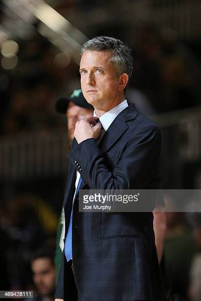 Personality Bill Simmons Coach of the West Team reacts to a play during the Sprint NBA AllStar Celebrity Game at Sprint Arena during the 2014 NBA...