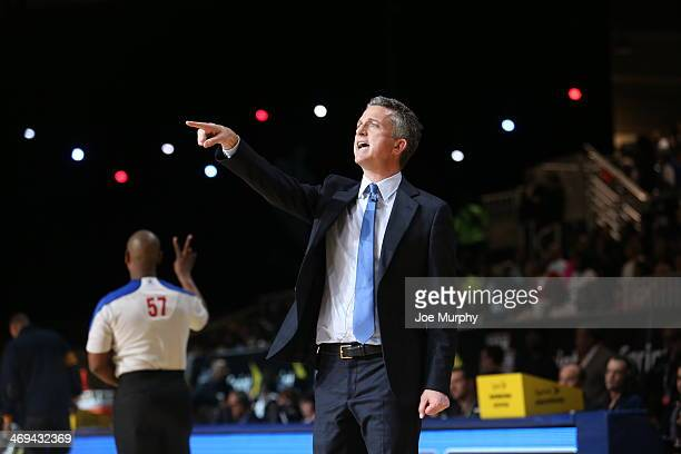 Personality Bill Simmons Coach of the West Team reacts to a play against the East Team during the Sprint NBA AllStar Celebrity Game 2014 at Sprint...