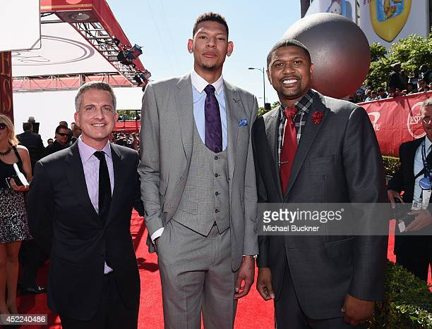 NBA personality Bill Simmons with College basketball player Isaiah Austin and NBA personality Jalen Rose attend The 2014 ESPYS at Nokia Theatre LA...