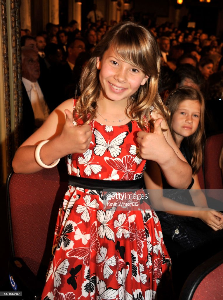 TV personality Bindi Irwin poses in the audience during the 36th Annual Daytime Emmy Awards at The Orpheum Theatre on August 30, 2009 in Los Angeles, California.