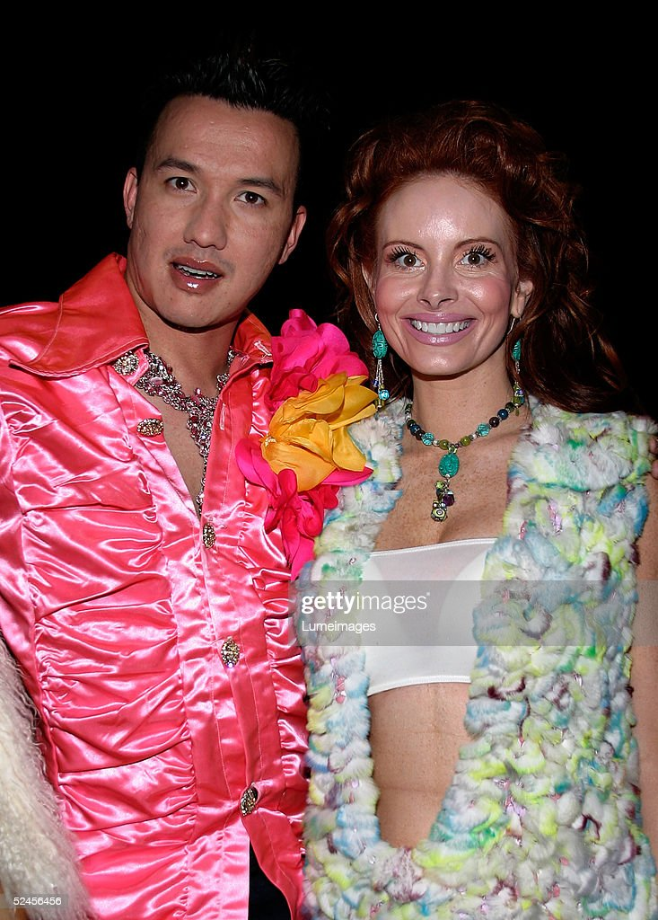 TV personality Bobby Trendy and actress Phoebe Price arrive at the Rock and Republic Fashion show at Sony Studios on March 19 2005 in Culver City...
