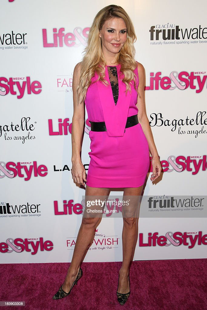 TV personality <a gi-track='captionPersonalityLinkClicked' href=/galleries/search?phrase=Brandi+Glanville&family=editorial&specificpeople=841250 ng-click='$event.stopPropagation()'>Brandi Glanville</a> arrives at Life & Style's Hollywood in Bright Pink event hosted by Giuliana Rancic at Bagatelle on October 9, 2013 in Los Angeles, California.