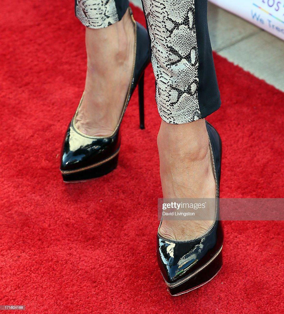 TV personality Brandi Glanville (shoe detail) attends a fashion fundraiser benefitting Children's Hospital of Los Angeles hosted by Kyle Richards at Kyle by Alene Too on June 26, 2013 in Beverly Hills, California.