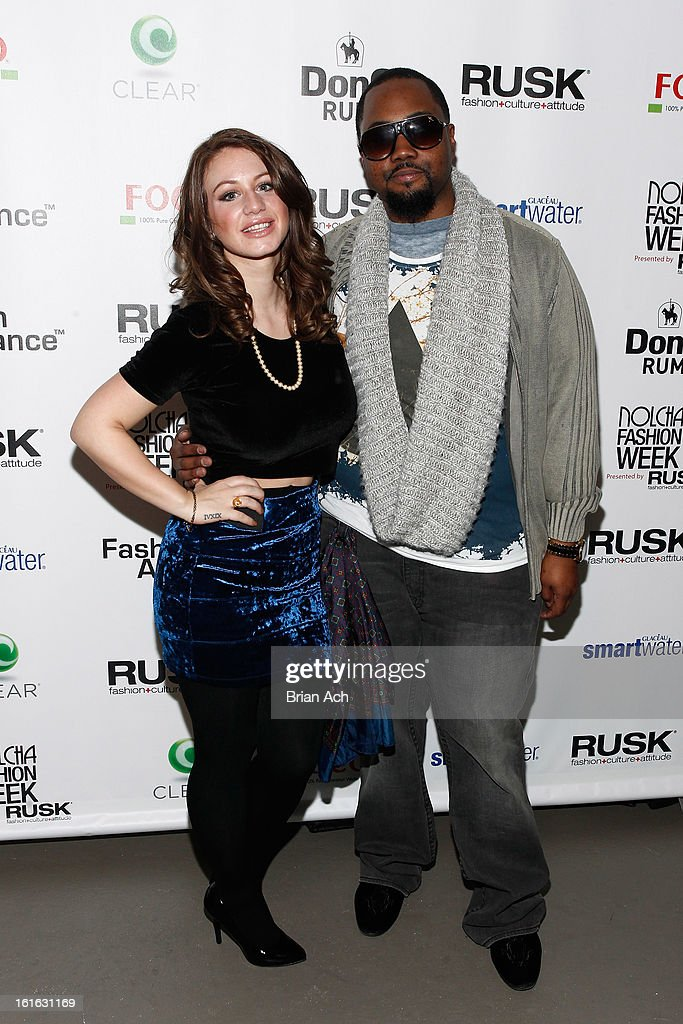 TV personality Briella Calafiore and fashion designer Stephen Goudeau attend Nolcha Fashion Week New York 2013 presented by RUSK at Pier 59 Studios on February 13, 2013 in New York City.
