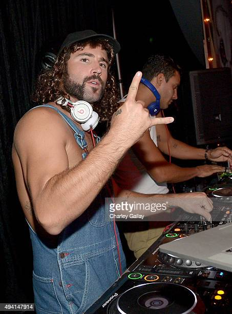 Personality Brody Jenner deejays during the annual Halloween Party hosted by Playboy and Hugh Hefner at the Playboy Mansion on October 24 2015 in Los...