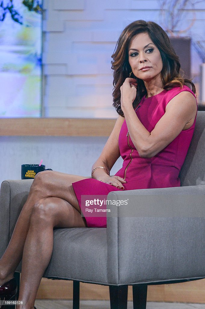TV personality Brooke Burke tapes an interview at 'Good Morning America' at ABC Times Square Studios on January 8, 2013 in New York City.