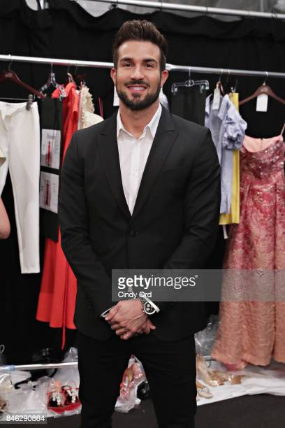 TV personality Bryan Abasolo poses for a photo backstage at the Badgley Mischka fashion show during September 2017 New York Fashion Week The Shows at...