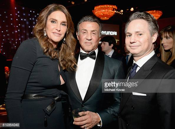 TV personality Caitlin Jenner actor Sylvester Stallone and DuJour CEO Jason Binn attend the 2016 PreGRAMMY Gala and Salute to Industry Icons honoring...