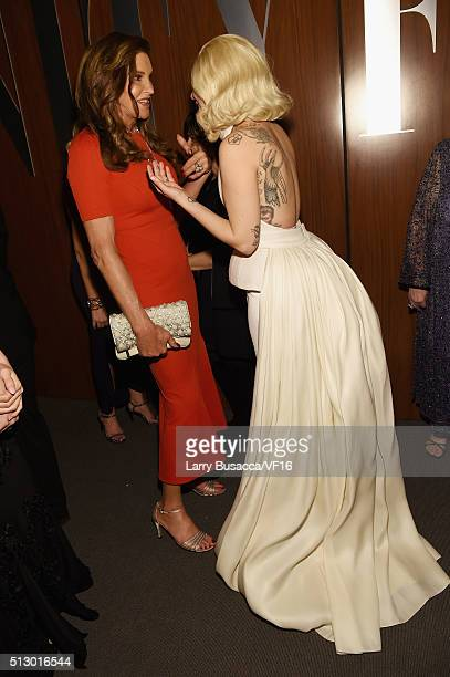 TV personality Caitlyn Jenner and recording artist/actress Lady Gaga attend the 2016 Vanity Fair Oscar Party Hosted By Graydon Carter at the Wallis...
