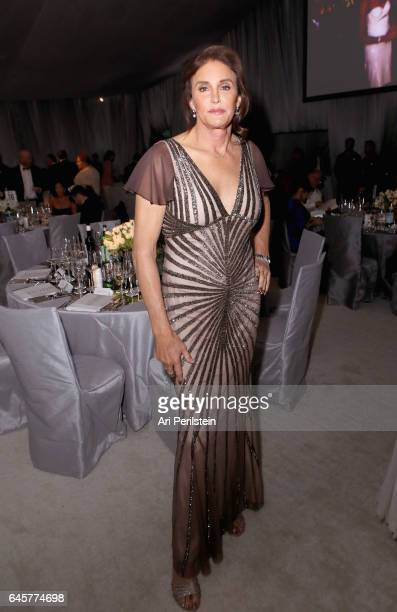 TV personality Caitlyn Jenner attends the 25th Annual Elton John AIDS Foundation's Oscar Viewing Party at The City of West Hollywood Park on February...