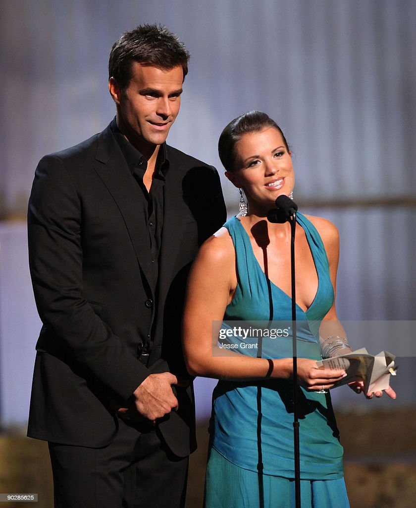 TV personality Cameron Mathison (L) and actress Melissa Claire Egan onstage at the 36th Annual Daytime Emmy Awards at The Orpheum Theatre on August 30, 2009 in Los Angeles, California.