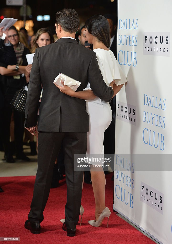 TV personality Camila Alves (r) and actor Matthew McConaughey attend Focus Features' 'Dallas Buyers Club' premiere at the Academy of Motion Picture Arts and Sciences on October 17, 2013 in Beverly Hills, California.