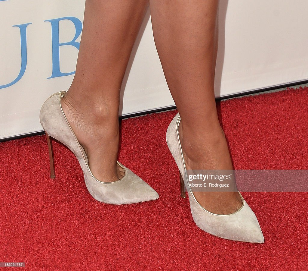 TV personality Camila Alves (shoe detail) attends Focus Features' 'Dallas Buyers Club' premiere at the Academy of Motion Picture Arts and Sciences on October 17, 2013 in Beverly Hills, California.