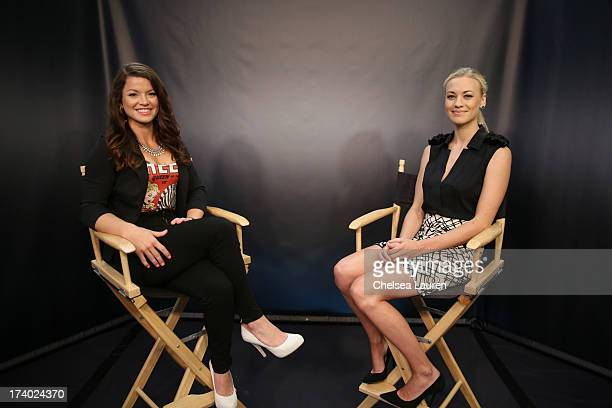 TV personality Camille Ford L and actress Yvonne Strahovski attend the 'I Frankenstein' at the Movies On Demand Lounge during ComicCon International...