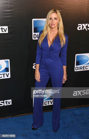 TV personality Camille Grammer attends DIRECTV Super Saturday Night Arrivals at DIRECTV SuperFan Stadium on January 31 2015 in Phoenix Arizona