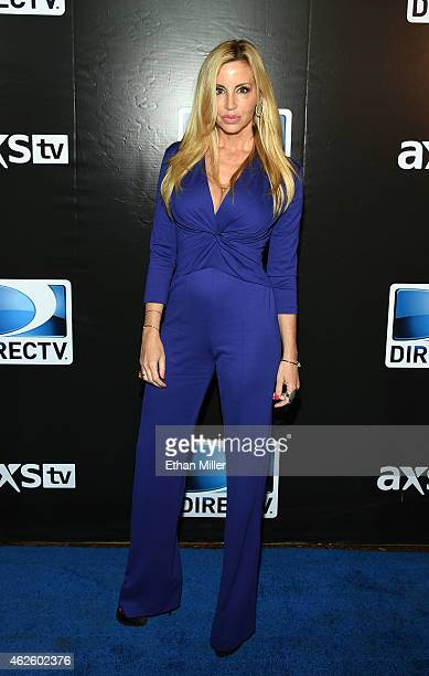 TV personality Camille Grammer attends DirecTV Super Saturday Night hosted by Mark Cuban's AXS TV and Pro Football Hall of Famer Michael Strahan at...