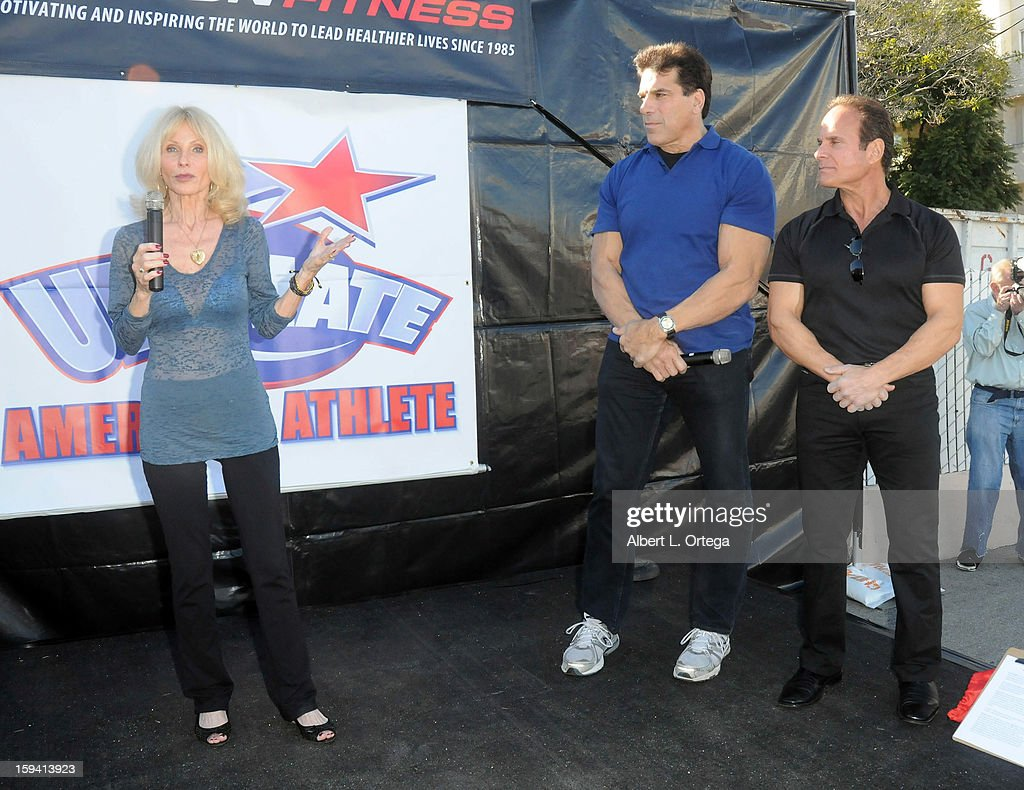 Personality Carla Ferigno, actor/body builder Lou Ferigno and fitness expert Mike Torchia participate in the Red Carpet Health Expo held at The Vitamin Shoppe on January 12, 2013 in Los Angeles, California.