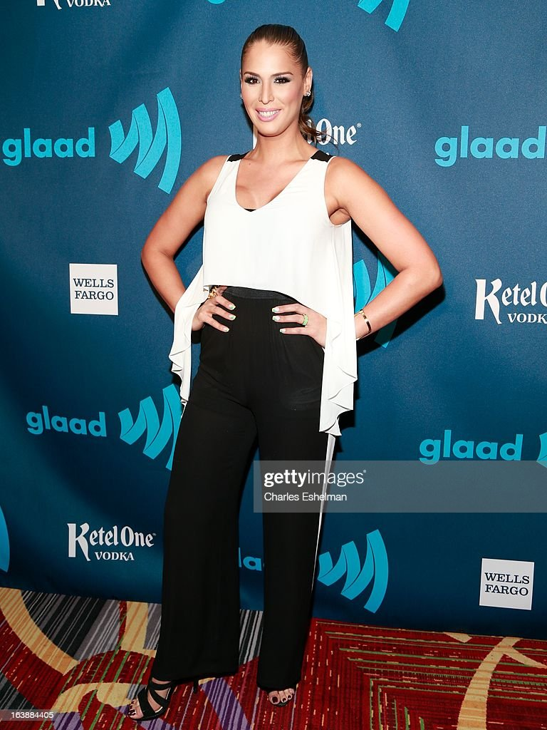 TV personality Carmen Carrera attends the 24th annual GLAAD Media awards at The New York Marriott Marquis on March 16, 2013 in New York City.