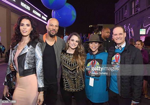 TV personality Carmen Carrera rapper Common singersongwriter JoJo actress Rosie Perez and AHF president Michael Weinstein take part in AIDS...