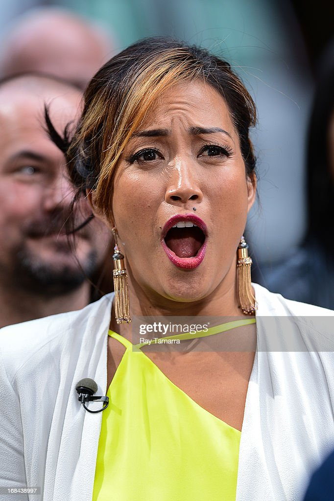 TV personality Carrie Ann Inaba tapes an interview at 'Extra' in Midtown Manhattan on May 9, 2013 in New York City.