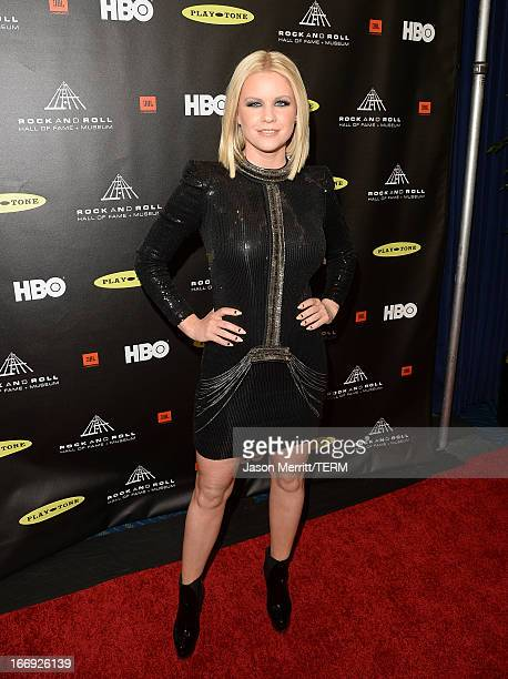 TV personality Carrie Keagan arrives at the 28th Annual Rock and Roll Hall of Fame Induction Ceremony at Nokia Theatre LA Live on April 18 2013 in...