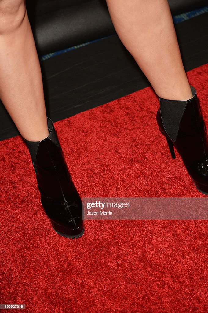 TV personality Carrie Keagan (shoe detail) arrives at the 28th Annual Rock and Roll Hall of Fame Induction Ceremony at Nokia Theatre L.A. Live on April 18, 2013 in Los Angeles, California.
