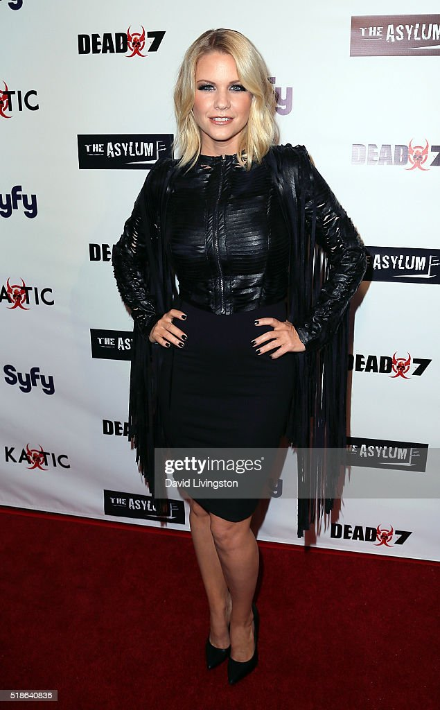 TV personality Carrie Keagan attends the premiere of Syfy's 'Dead 7' at Harmony Gold on April 1, 2016 in Los Angeles, California.